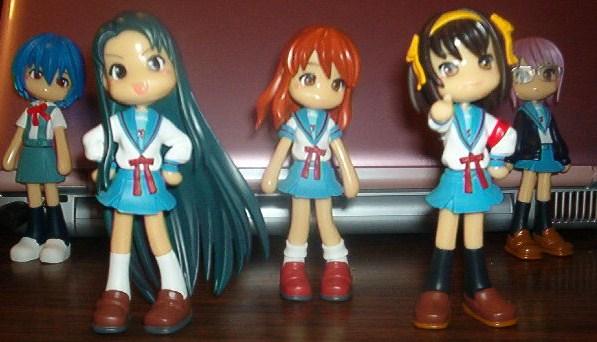 Haruhi and Evangelion Pinky St figures