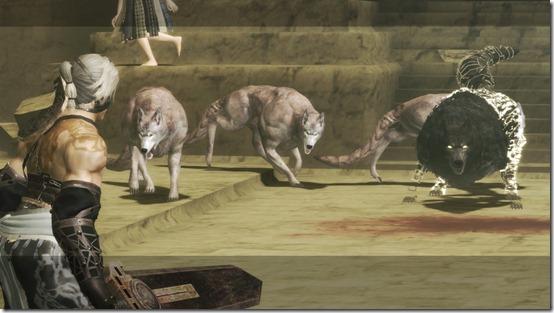 NIER Nier faces off with wolves in Facade
