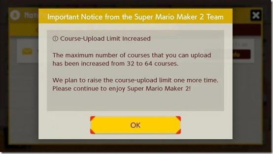 super mario maker 2 course upload limit