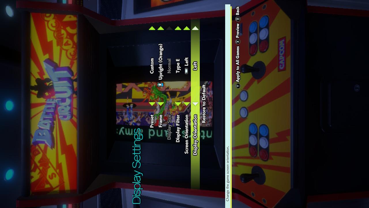 capcom arcade stadium display settings