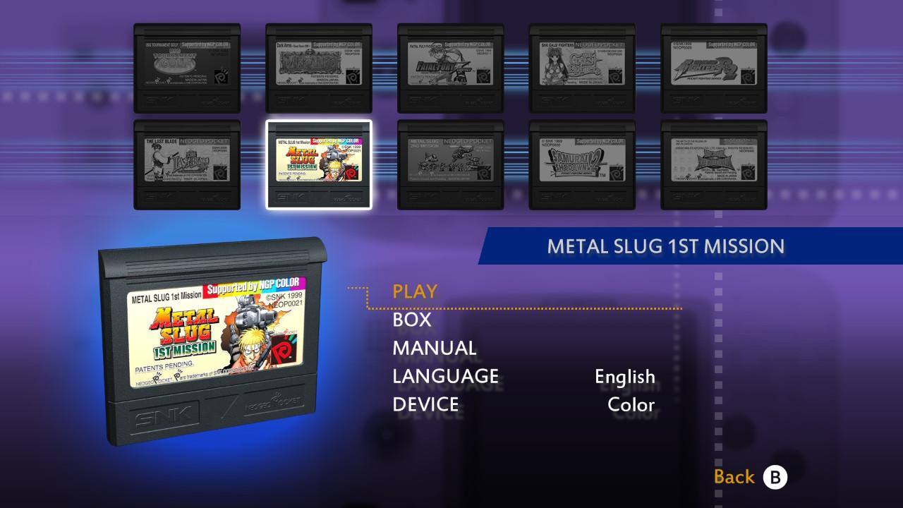 neogeo pocket color selection vol 1 menu