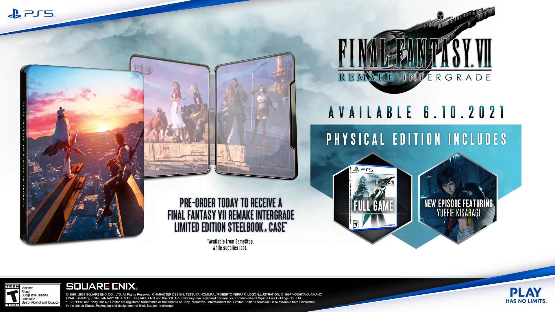 gamestop ffvii remake intergrade steelbook pre-order