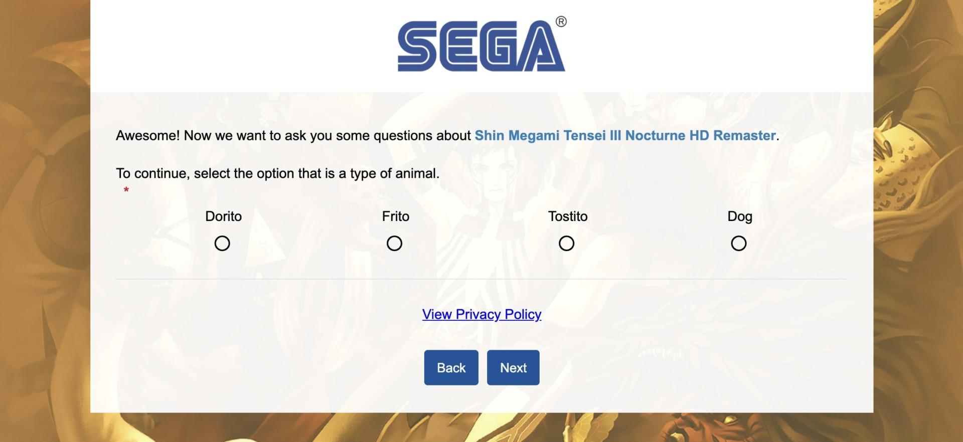 SMT III Nocturne HD Remaster Atlus Survey